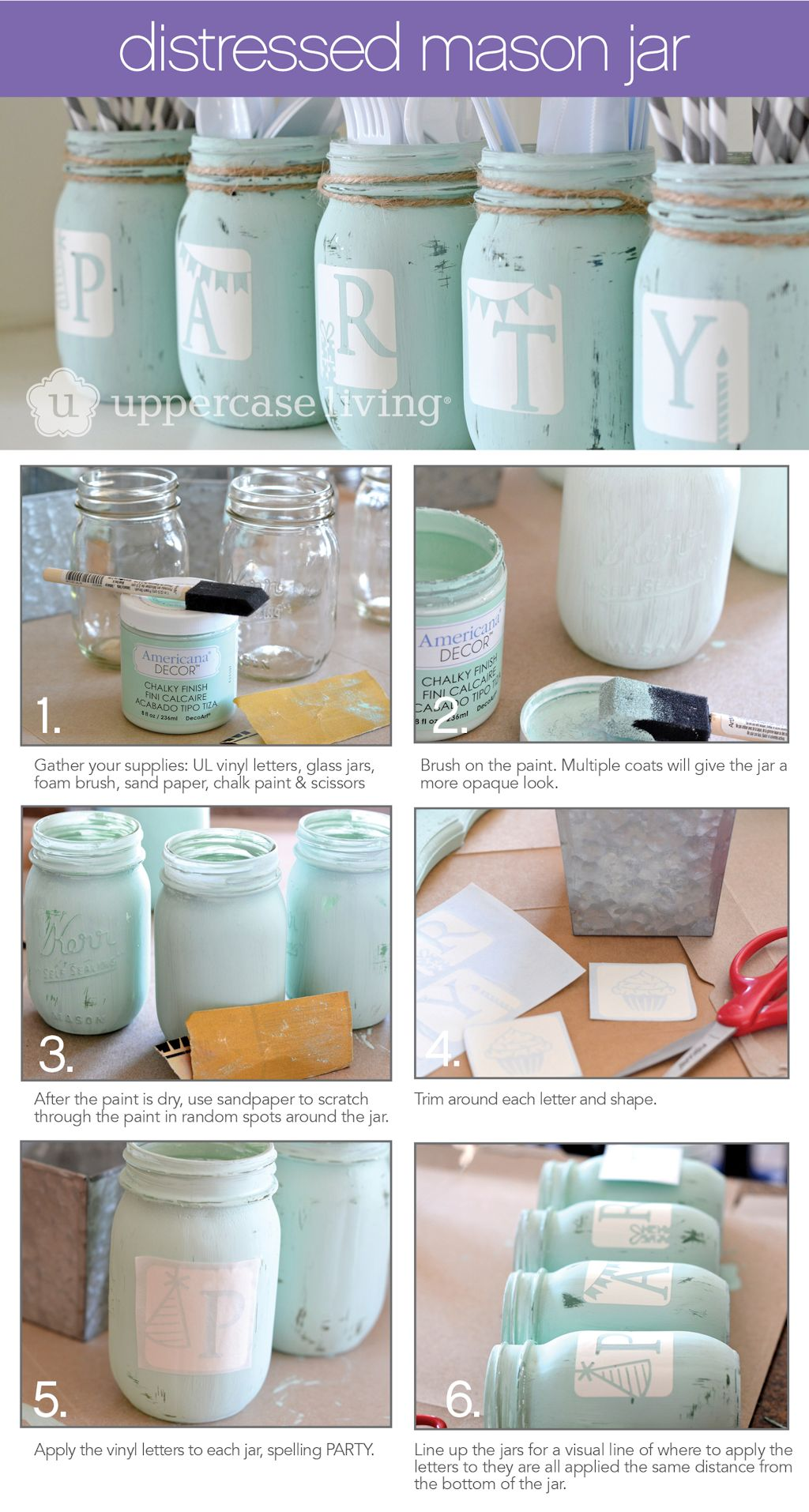 Distressed Mason Jar Project Sheet