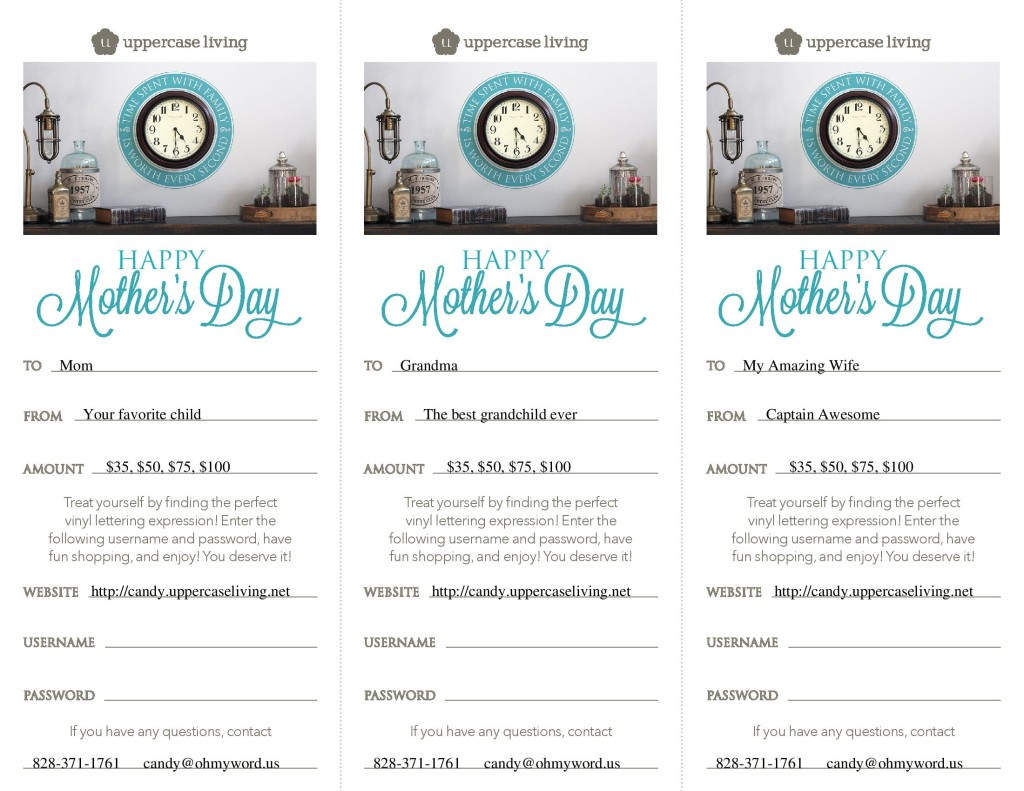 Mothers Day Gift Certificates