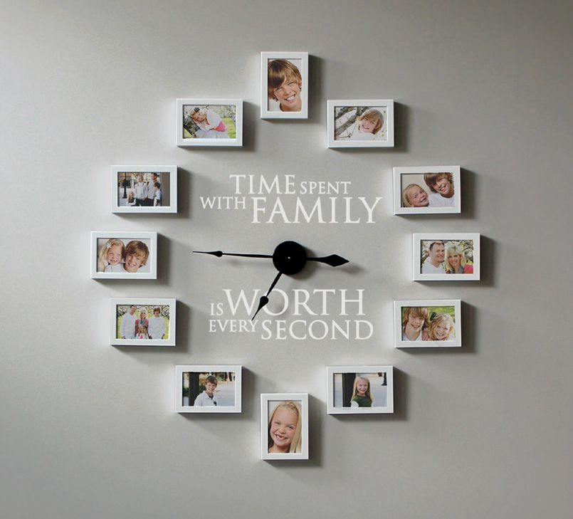 Time Spent With Family Photo Frame Clock