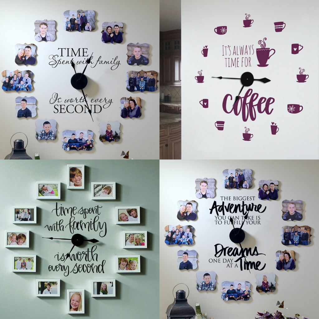 Time Spent With Family Photo Wall Clocks Sq